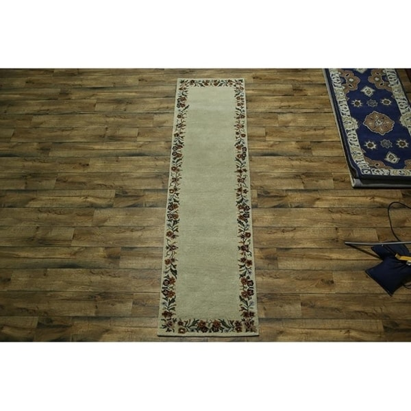 Shop Oushak Floral Tufted Wool Persian Oriental Area Rug: Shop Floral Hand Tufted Wool Oushak Agra Indian Oriental