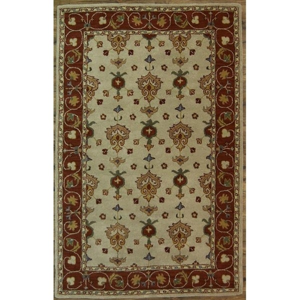 """Oushak Agra Hand Made Floral Area Rug Oriental Beige - 8'0"""" x 5'1"""""""