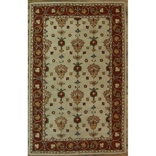 "Oushak Agra Hand Made Floral Area Rug Oriental Beige - 8'0"" x 5'1"""