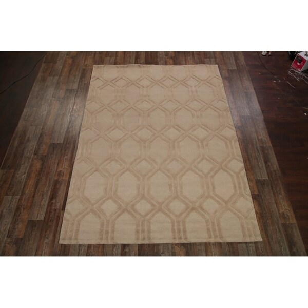 "Oushak Oriental Geometric Area Rug Hand Made Wool Carpet - 8' x 11'1"""