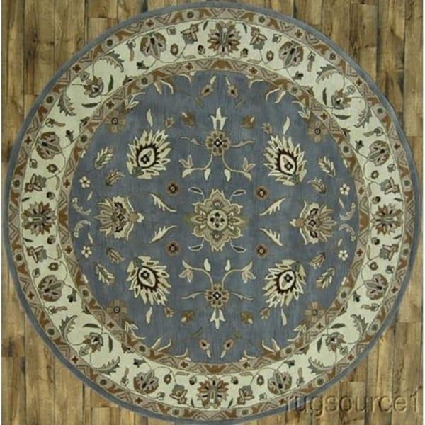 "Hand Made Woolen Oushak Agra Indian Oriental Floral Rug - 10'0"" round"