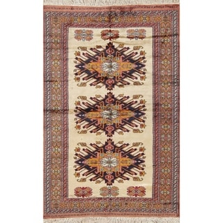 "Vintage Traditioanl Handmade Kazak Caucasian Russian Oriental Area Rug - 6'5"" x 4'2"""