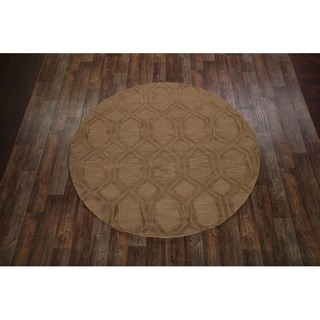 Oushak Indian Oriental Hand Made Floral Area Rug - 8' Round
