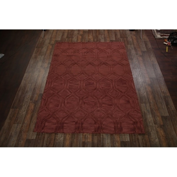 Hand Tufted Traditional Oushak Indian Oriental Area Rug Geometric - 8' X 11'