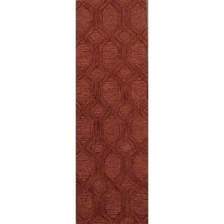 "Oushak Agra Oriental Floral Rug Hand Tufted Wool Red Carpet - 7'10"" x 2'7"" runner"