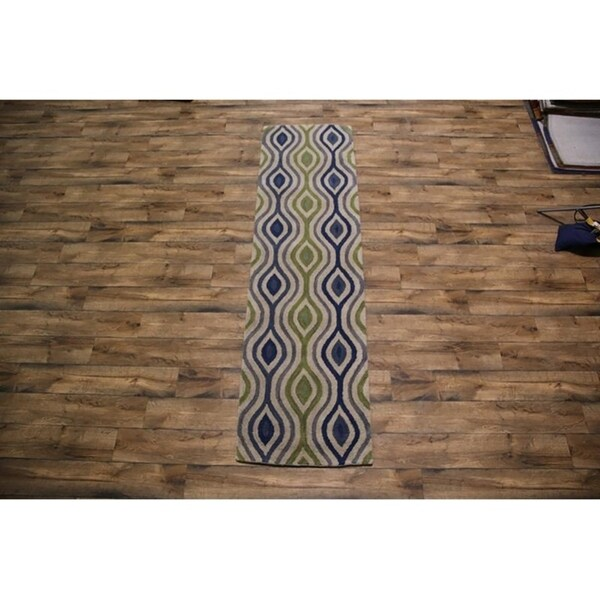 """Traditional Gabbeh Hand Tufted Indian Oriental Transitional Rug Blue - 3'0"""" x 9'0"""" runner"""
