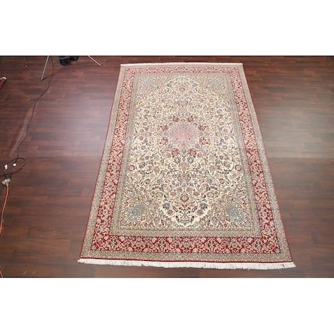"""Vintage Hand Made Traditional Floral Nain Toodeshk Persian Area Rug - 10'10"""" x 6'10"""""""