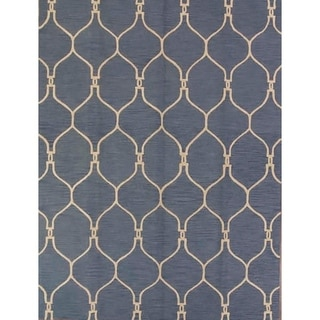 "Copper Grove Pietarsaari Blue Moroccan Trellis Handmade Rug - 10'10"" x 8'"