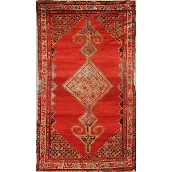 "Antique Handmade Traditional Bibikabad Hamedan Persian Floral Area Rug - 6'8"" x 3'10"""