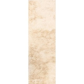 "Hand Tufted Shaggy Shag Traditional Oriental Rug Beige - 12'8"" x 2'6"" runner"