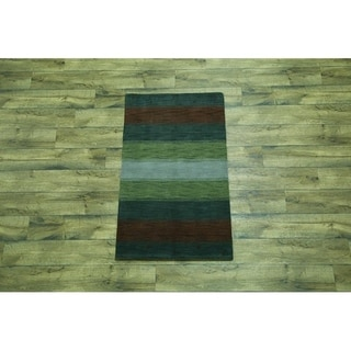 "Porch & Den Swanson Hand-knotted Striped Gabbeh Jaipur Area Rug -2'9 x 5'1 - 5'1"" x 2'9"""