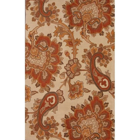 CLassical Oushak Agra Oriental Hand Made Floral Area Rug Beige - 5' x 8'