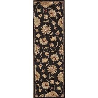 "Tabriz Traditional Agra Oriental Hand Tufted Wool Floral Rug Black - 7'10"" x 2'7"" runner"