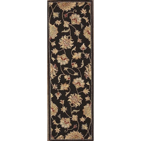 "Tabriz Traditional Agra Oriental Hand Tufted Wool Floral Rug Black - 7'10"" x 2'7"" runner"