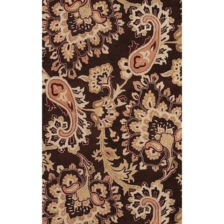 "Gracewood Hollow Emurwon Hand-tufted Brown Floral Wool Area Rug - 5'0"" x 8'0"""