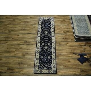 """Copper Grove Oksbol Blue Oushak Hand-tufted Wool Area Rug - 9'8"""" x 2'6"""" runner"""