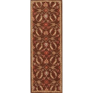"Hand Tufted Wool Tabriz Traditional Agra Oriental Floral Rug - 7'10"" x 2'7"" runner"