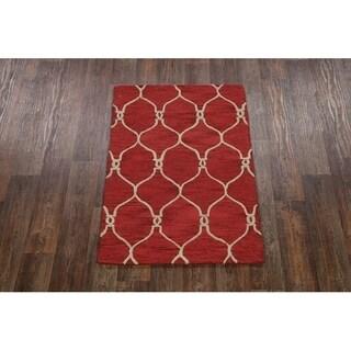 """Copper Grove Pietarsaari Red Moroccan Trellis Handmade Rug - 3'4"""" x 5'4"""""""