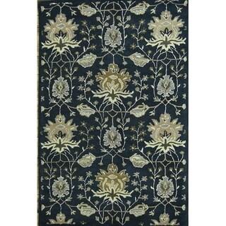 "Copper Grove Peristerona Floral Blue Oushak Agra Oriental Area Rug Hand Tufted Wool - 8'1"" x 5'3"""