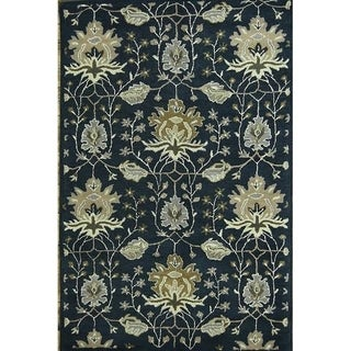 "Copper Grove Peristerona Floral Blue Oushak Agra Oriental Area Rug Hand Tufted Wool - 8'1"" x 5'3"""