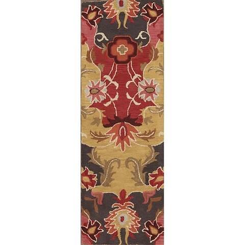 """Porch & Den Vernelda Red Hand-tufted Floral Wool Oushak Runner Rug - 7'10"""" x 2'7"""" runner"""