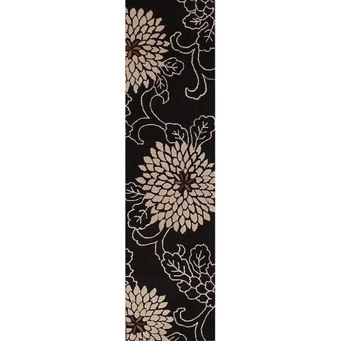"""Porch & Den Trona Hand-tufted Black Floral Oushak Agra Runner Rug - 9'10"""" x 2'7"""" runner"""