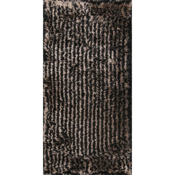 Shop Striped Plush Modern Black Gold 3x5 Silky Shaggy Shag Oriental