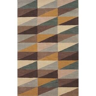 """Porch & Den Vernie Orange Hand-tufted Wool Gabbeh Area Rug - 5'0"""" x 8'0"""""""