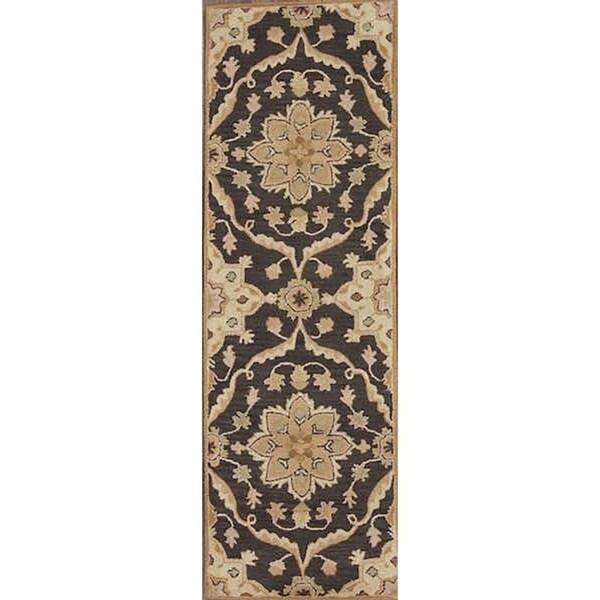"Copper Grove Vaerlose Hand-tufted Wool Indian Oriental Rug Blue - 7'10"" x 2'7"" runner"