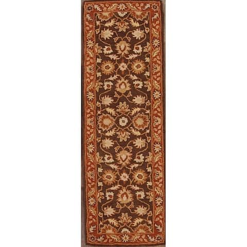 """Copper Grove Haapajarvi Traditional Brown Floral Hand-tufted Runner Rug - 7'10"""" x 2'7"""" runner"""