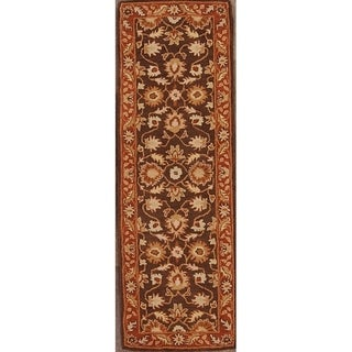 "Copper Grove Haapajarvi Traditional Brown Floral Hand-tufted Runner Rug - 7'10"" x 2'7"" runner"