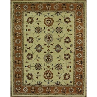 """Gracewood Hollow Shafi Hand-tufted Brown and Green Floral Area Rug - 5'0"""" x 8'0"""""""
