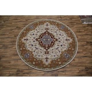 "Gracewood Hollow Majaj Tufted Blend Indian Oushak Indian Traditional Rug - 10'0"" round"