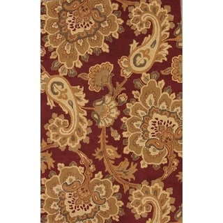 """Copper Grove Maardu Red Paisley Hand-tufted Wool Area Rug - 7'10"""" x 4'11"""""""