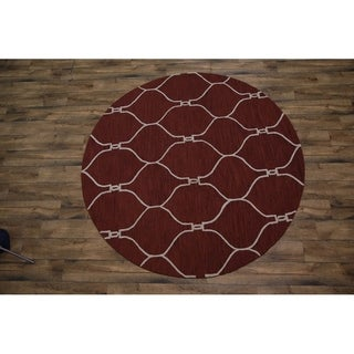 """Copper Grove Guderup Red Moroccan Trellis Indian Oriental Hand-tufted Rug Wool - 7'11"""" round"""