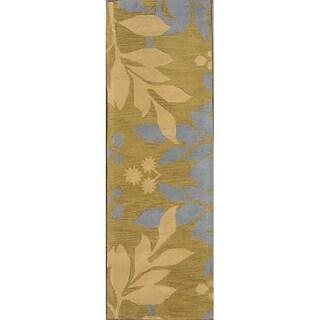 """Gracewood Hollow Bukenya Hand-tufted Green Floral Wool Runner Rug - 7'10"""" x 2'7"""" runner"""