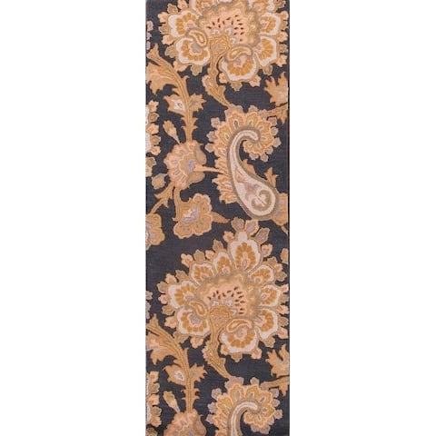 "Porch & Den Andria Hand-made Floral Wool Agra Oriental Runner Rug - 2'6"" x 7'10"" runner"