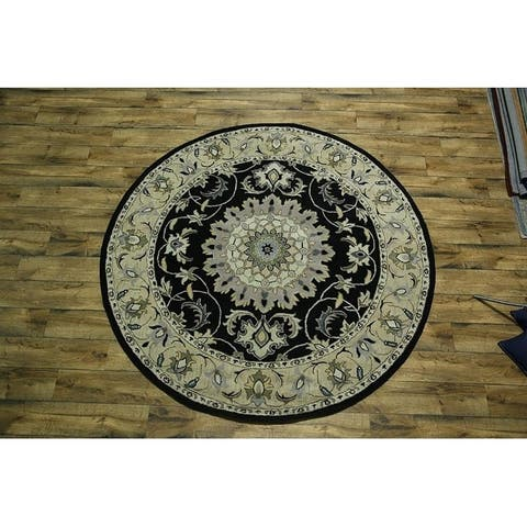 "Gracewood Hollow Kabali Handmade Floral Medallion Wool Round Rug - 8'2"" round"