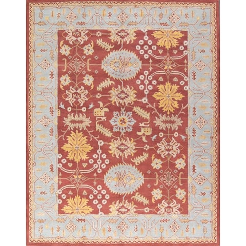 """Gracewood Hollow Totovents Made Blend Oriental Made Traditional Oushak Oriental Floral Rug - 11'1"""" x 8'0"""""""