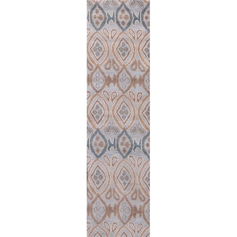 "Porch & Den Abelia Blue Hand-knotted Wool Moroccan Runner Rug - 10'0"" x 3'0"" runner"