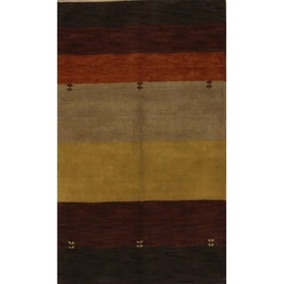 "Porch & Den Talwood Hand-knotted Striped Wool Gabbeh Oriental Area Rug - 4'8"" x 2'8"""
