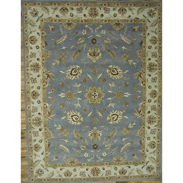Shop Oushak Floral Tufted Wool Persian Oriental Area Rug: Shop Oushak Agra Oriental Hand Tufted Wool Floral Area Rug