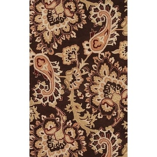 Gracewood Hollow Emurwon Hand-tufted Brown Floral Wool Area Rug - 5' x 8'
