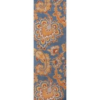 """Copper Grove Kannus Classic Blue Oriental Hand-tufted Runner Rug - 7'8"""" x 2'5"""" runner"""