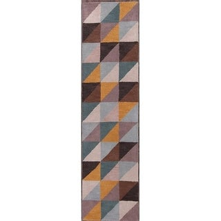 Carson Carrington Javre Geometric Handmade Runner Rug - 2'7 x 9'10