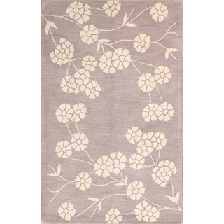 "Gracewood Hollow Barakat Tufted Blend Indian Classical Oushak Indian Floral Rug - 8'0"" x 5'0"""