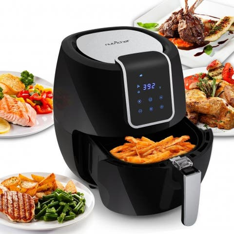 NutriChef PKAIRFR65 Digital Air Fryer Electric Oil-Free Kitchen Air Frying with Non-Stick Fry Basket, 5.3L Capacity