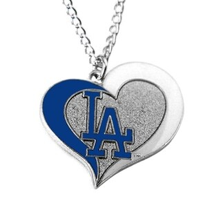 MLB Los Angeles Dodgers Sports Team Logo Swirl Heart Necklace