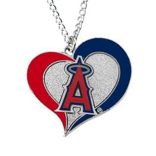 MLB Los Angeles Angels Sports Team Logo Swirl Heart Necklace