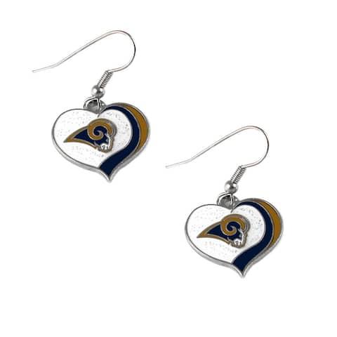 NFL Los Angeles Rams Sports Team Logo Glitter Heart Earring Dangle Swirl Charm